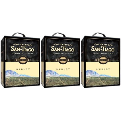 3 x SAN TIAGO MERLOT Bag in Box 3 Liter 13,5 % vol.